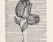Flower Pencil Drawing Print Vintage Dictionary Art Print Black and White Laser Ink Printed on Vintage Dictionary Pages One of a Kind