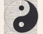 Yin and Yang Print Vintage Dictionary Art Print Black and White Laser Ink Printed on Vintage Dictionary Pages One of a Kind