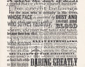 Man in the Arena Print Vintage Dictionary Art Print Black and White Laser Ink Printed on Vintage Dictionary Pages One of a Kind