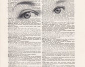 Pencil Eyes Drawing Print Vintage Dictionary Art Print Black and White Laser Ink Printed on Vintage Dictionary Pages One of a Kind