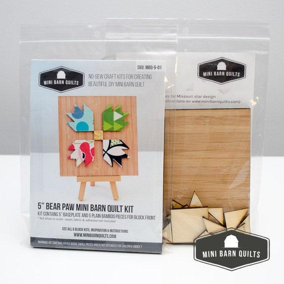 bear paw mini barn quilt kit wooden adult craft kit. Black Bedroom Furniture Sets. Home Design Ideas