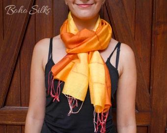 Orange Scarf, Orange Silk Scarf, Orange Ombre Scarf, Boho Headband, Girls Gifts, Gift Ideas For Friends, Birthday Gift, Girlfriend Gift