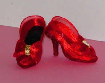Tyler/Emme shoes RED BOWS PUMPS for Tyler Wentworth, Gene Marshall, 16 inch fashion dolls, high heel shoes, doll shoes