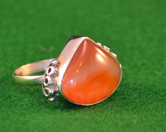 925 Silver and Carnelian womans ring, size 10 1/2