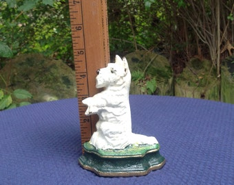 Cast Iron Scottie White Doorstop Miniature Bookend