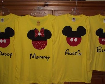 Mickey Mouse or Minnie Mouse Disney Inspired Family Shirts T-Shirt Personalized Custom