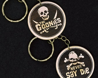 The Goonies Hand Made Engraved Wood Keyring Keychain by JayEngrave