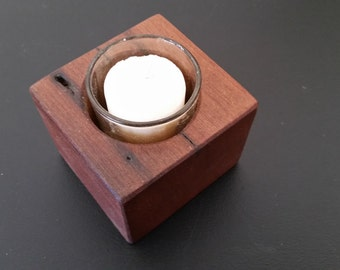 Rustic reclaimed wood single votive candle holder