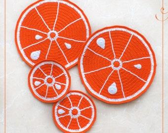 Crochet doily Orange for a delicious breakfast, orange coasters, crochet oranges (set of 4)
