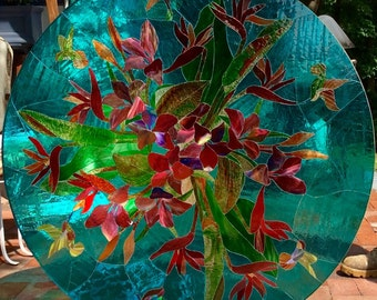 Floral and Hummingbirds Stained Glass Table Top