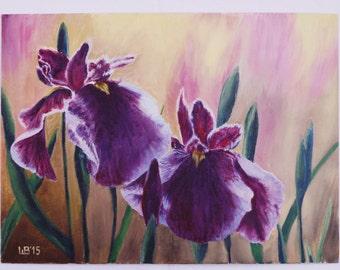 Original oil painting irises picture home decor flower art wall canvas artwork landscape floral contemporary gift violet