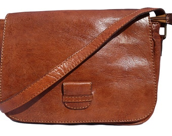 Hand Made Leather Square Saddle Bag - Tan