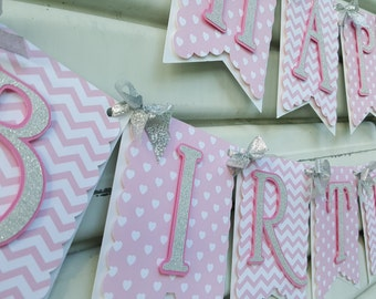Pink and Silver Birthday Banner, Birthday Banner, Pink and Silver BIrthday, Glitter Birthday Banner, First Birthday, Pink and Silver