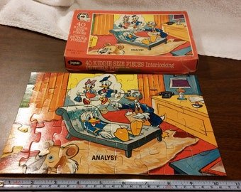 Vintage 1950s Jaymar and Walt Disney Productions Analyst puzzle featuring Donald Duck