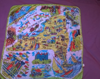 Vintage Souvenir of New York Silk Scarf, Original Screen Print, American Made, 1950's