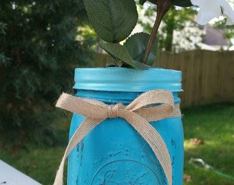 Turquoise Blue Painted Mason Jar  w/ Flower Frog