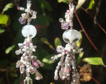 Hand Beaded Dangle Earrings