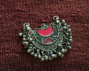 SALE! Vintage Uzbek Metal Silver Tribal Pendant
