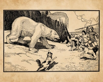 C.F. Arcier 1915 Eskimos on Bear Hunt Antique Children's Fairy-Tale Story-Book Art Print