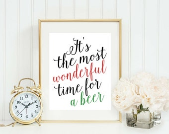 Christmas Party Decor - Funny Christmas Printable - Christmas Decoration - It's The Most Wonderful Time For a Beer - Holiday Party