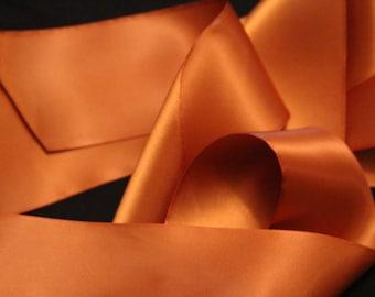 Brown Satin Ribbon/Copper Satin Bridal Dress Sash/Rustic Wedding Dress Sash/DIY Bridal Belt/Bridesmaids Sash/Bridal Dress Belt/Copper Ribbon