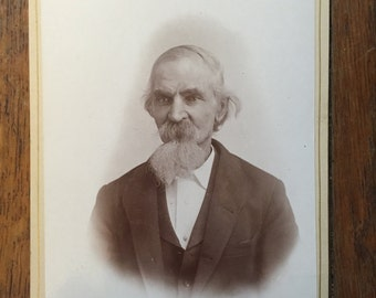 Antique cabinet card photo; black and white; late 1800s; Victorian era