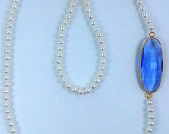 Fresh Water Pearls  - Necklace with Blue Crystal
