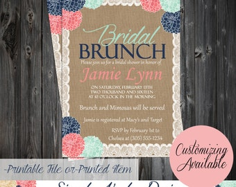 Bridal Shower Brunch Burlap Lace and
