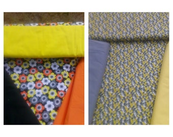 Yellows/Blacks/Grays/Orange/Flowers - Dog Crate Cover - Lined/Reversible With Same Fabric Ties