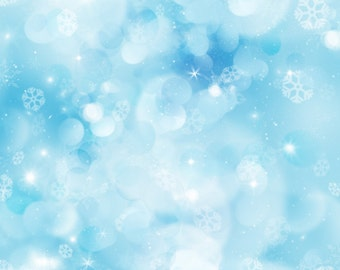 Blue Bokeh Backdrop - cloud, sequin, snowflake - Printed Fabric Photography Background G0461