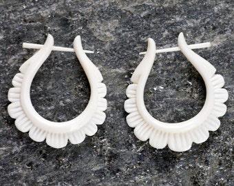 Floral Hoop Bone Post Earrings
