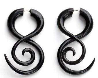 Tribal Twist Fake Gauges Horn Earrings