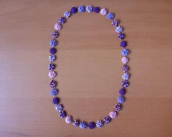 Handmade purple lilac fabric fuxico necklace