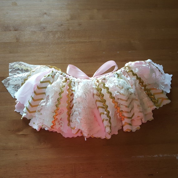 Ivory Light Pink and Gold themed Birthday tutu with Blush Pink & Gold girls Smash Cake Photo, birthday party, special occasion Girl Outfit