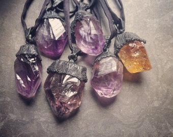 Amethyst Necklace | Citrine Necklace | Blackened Copper