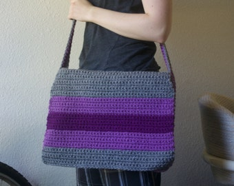 Gray with Purple strips  Messenger Bag
