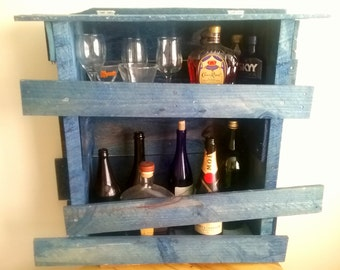 Blue Pallet Wood Wine/Bar Rack