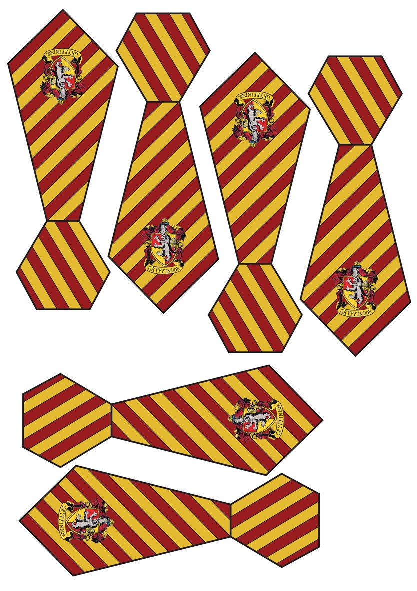 Printable Small 13cm Hogwarts House Ties Harry Potter