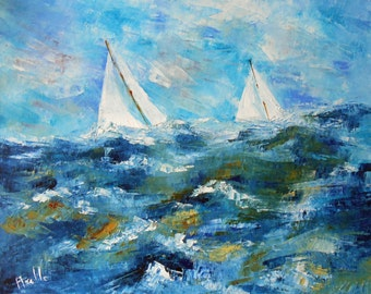 Painting Regatta of sailboats at sea