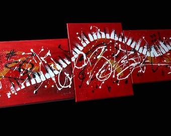 Paint triptyc modern jazz