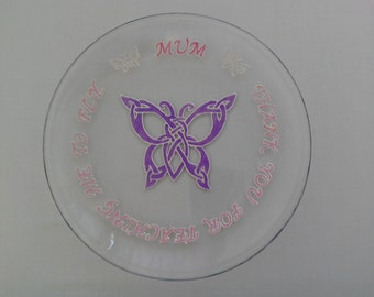Celtic Butterfly gift plate  - hand painted on glass in pale pink and purple. 'Mum - Thank You for Teaching Me To Fly'