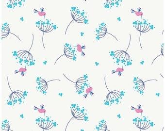 Wildflower Birds Blue Riley Blake - 1/2 and 1 YD cut