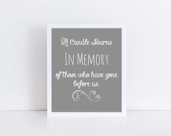 A Candle Burns In Loving Memory Printable, Wedding In Loving Memory Sign, In Loving Memory Printable, Wedding Memorial