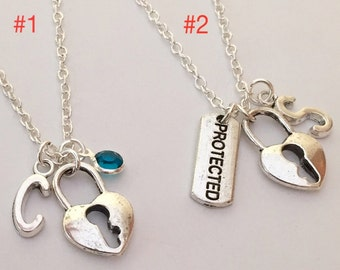 Sale* 50% Off Personalized Initial Love Lock Protected Charm Silver Plated Necklace set of 2 Charm Necklaces Free gift box Girlfriend gift