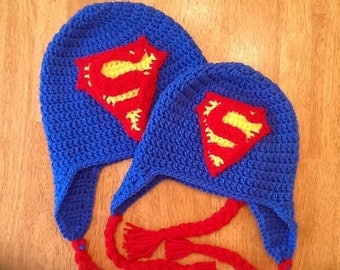 Superman Crocheted Earflap Beanie All Sizes
