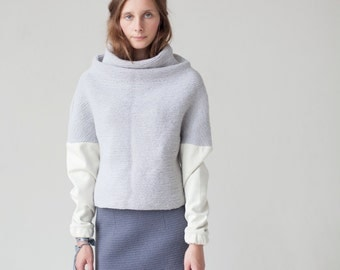Knitted sweater | Loose fit wool sweater | Oversized sweater | Chunky knit sweater | Light Blue sweater | Bohemian oversized pullover|