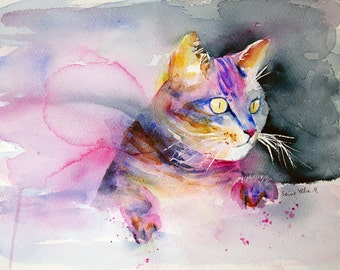 Cat watercolor, aquarelle chat, Watercolour, Watercolor, Aquarelle,peinture originale, French art,chat,cat watercolor,cat,Original Painting