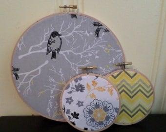 Set of 3 Embroidery Hoop Art, Fabric Wall Art, Birds, Chevron, Flowers, Grey, Black, White & Yellow FREE SHIPPING