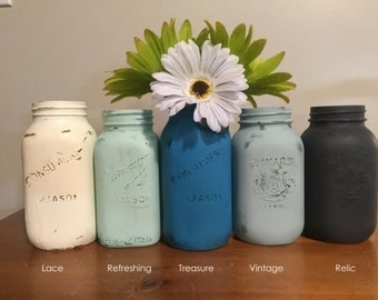 Painted Mason Jars - Chalk Paint and Acrylic Paint  - Buy More and Save