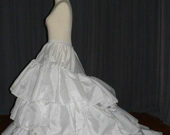 Quality taffeta train Petticoat/under skirt/slips/hoop skirt/crinoline PTCT016 SALE